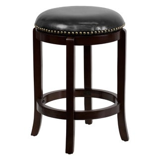 Backless Wood 24-inch Counter Height Stool with Leather Swivel Seat