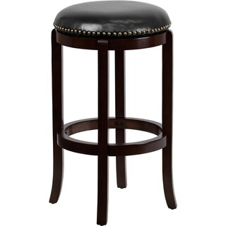 Backless 29-inch Wood Bar Stool with Leather Swivel Seat