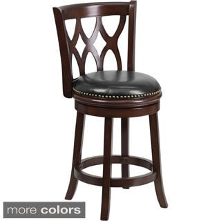 Wood 24-inch Counter Height Stool with Leather Swivel Seat