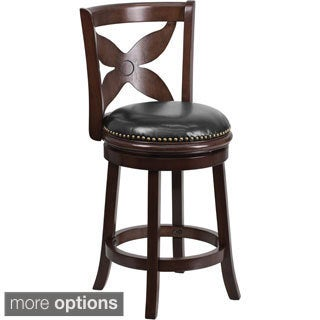 Wood Counter Height 24-inch Stool with Leather Swivel Seat
