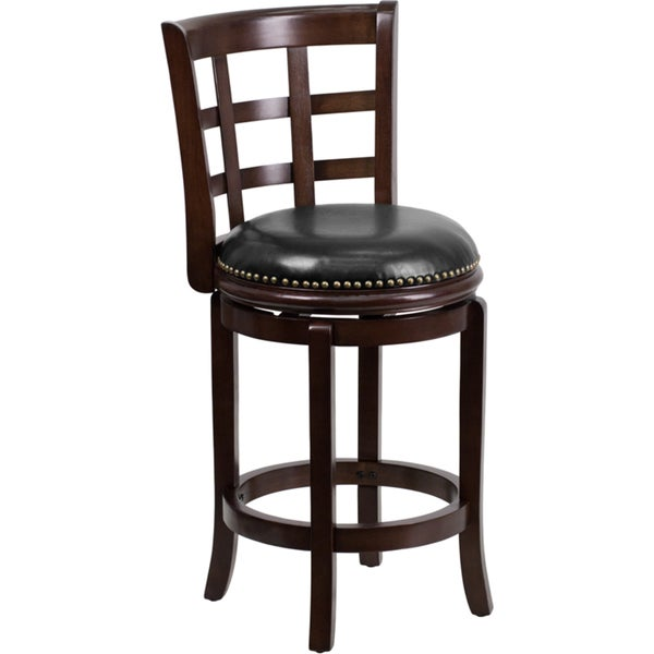 Counter Height Leather Bar Stools : Wood Counter Height Stool with Leather Swivel Seat - Overstock ...
