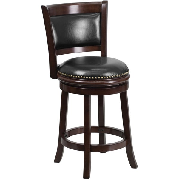 Wood 24 Inch Counter Height Stool With Leather Swivel Seat
