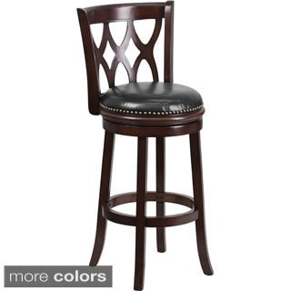 Wood 29-inch Bar Stool with Leather Swivel Seat