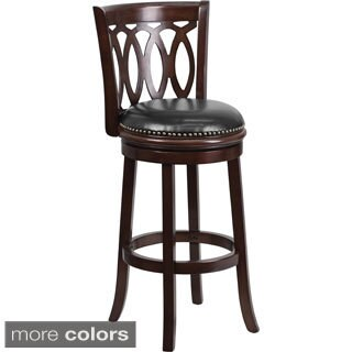 Wood Bar 29-inch Stool with Leather Swivel Seat