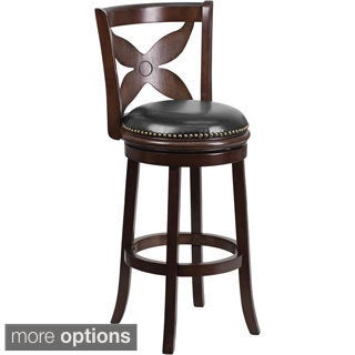Wood Bar Stool with Leather Swivel Seat