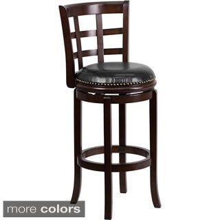 Wood 29-inch Bar Stool with Leather Swivel Seat and Nail Head Trim