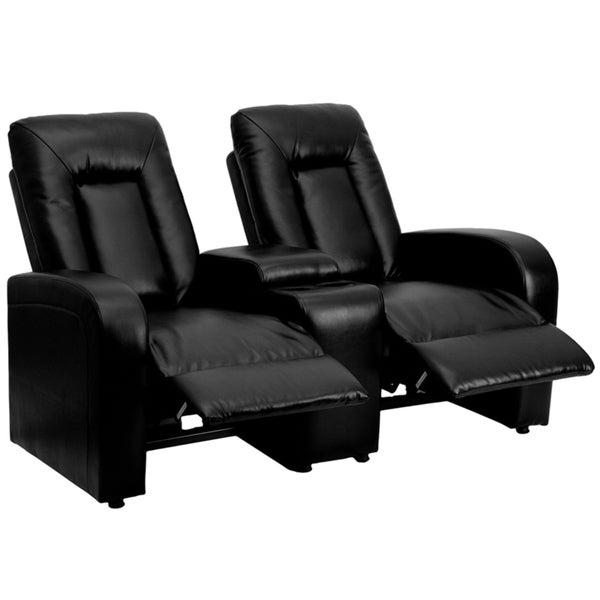 Eclipse Series 2-Seat Reclining Black Leather Theater Seating Unit with Cup Holders 15278774