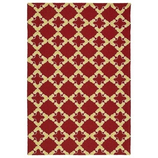 Handmade Indoor/ Outdoor Getaway Red Trellis Rug (2' x 3')