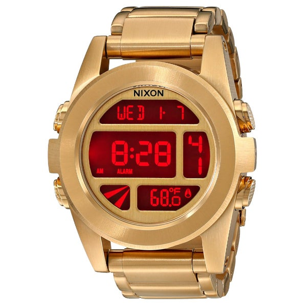 Nixon The Unit SS Gold Tone Unisex Watch, Digital Red Dial (A360-502)