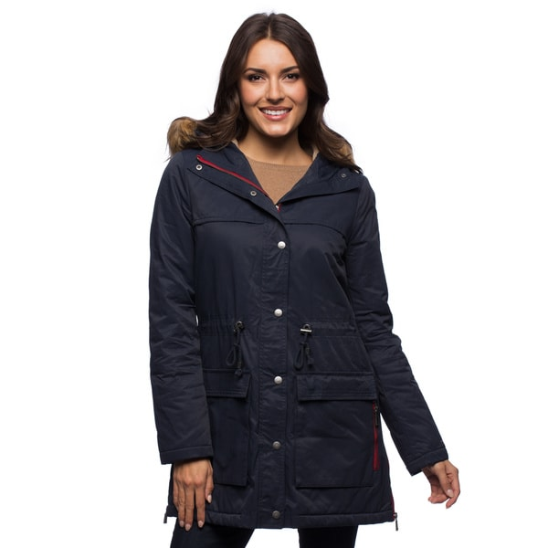 Tommy Hilfiger Women's Navy Anorak With Faux Sherpa