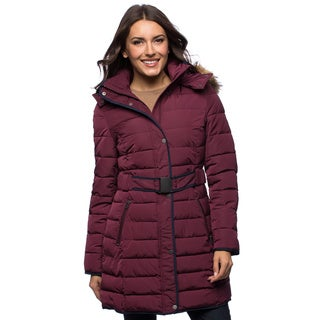 Tommy Hilfiger Women's Belted Faux Down Puffer Coat