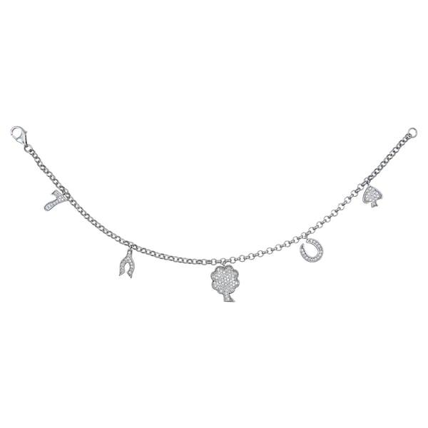 Sterling Silver Cubic Zirconia Charm Bracelet