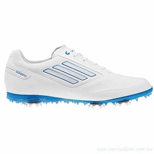 Adidas Womens Adizero Tour II Running White-Solar Blue Golf Shoes