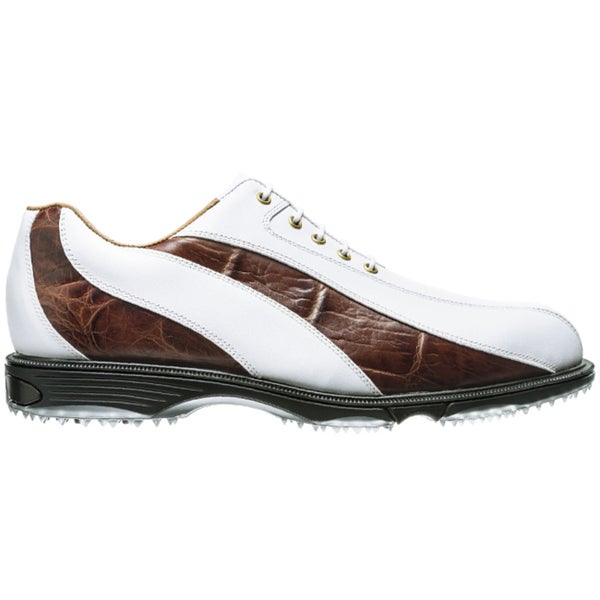 FootJoy Men's FJ Icon Wave Spikeless White-Mahogany Croc Print Golf Shoes