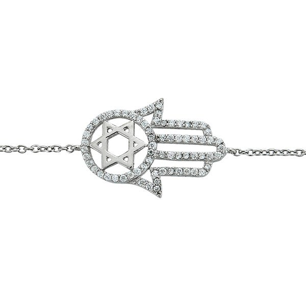 Sterling Silver Micropave Cubic Zirconia Hamsa and Star of David Bracelet