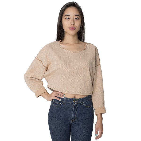 American Apparel Herringbone Cropped Reversible Easy Sweater
