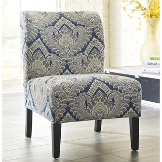 Honnally Contemporary Patterned Sapphire Accent Chair