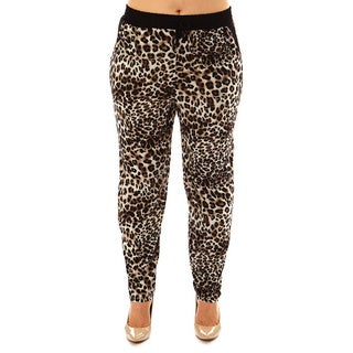 Golden Black Women's Plus Size Fierce Leopard Printed Knitted Joggers Pants