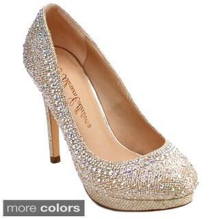 DE BLOSSOM COLLECTION SOGO-1 Women's Glitter Plarform Stiletto Dress Pumps