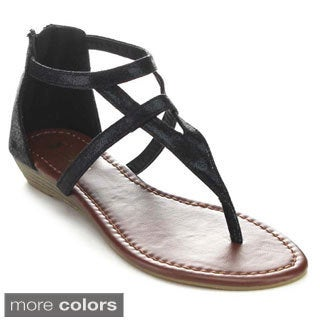 QUEEN CHATEAU ALDA-5 Women's Strappy Low Heel Thong Sandals