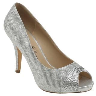 DE BLOSSOM COLLECTION ROBIN-128 Women's Glitter Slip On Dress Pumps