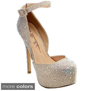 DE BLOSSOM COLLECTION KINKO-86 Women's Glitter Stiletto Ankle Strap D'Orsay Pumps