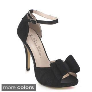 DE BLOSSOM COLLECTION ALBIN-3 Women's Ankle Strap Stiletto D'Orsay Heels