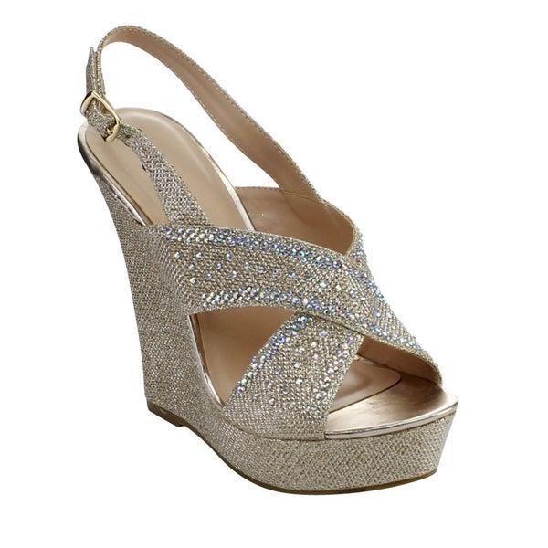 DE BLOSSOM COLLECTION NEMO-67 Women's Glitter Platform Sling Back Wedges