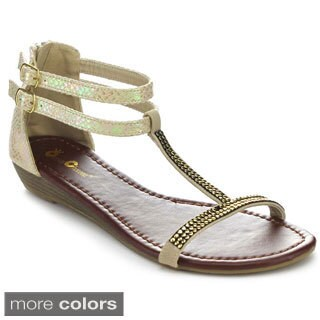 QUEEN CHATEAU ALDA-8 Women's T-Strap Studs Studded Low Heel Sandals