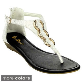 QUEEN CHATEAU ALDA-6 Women's Ankle Strap Low Heel Sandals
