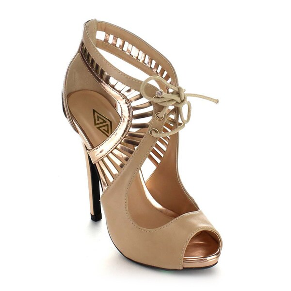 ATHENA ULA-1 Women's Lace Up Cut Out Stiletto Heels