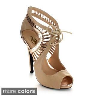 ATHENA ULA-1 Women's Lace Up Cut Out Stiletto Heels