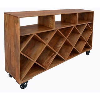 Christopher Knight Home Natural Diamond Shelf Wine Trolly