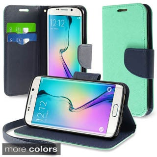 Insten Plain PU Leather Wallet Flap Pouch Phone Case Cover Lanyard with Stand For Samsung Galaxy S6 Edge