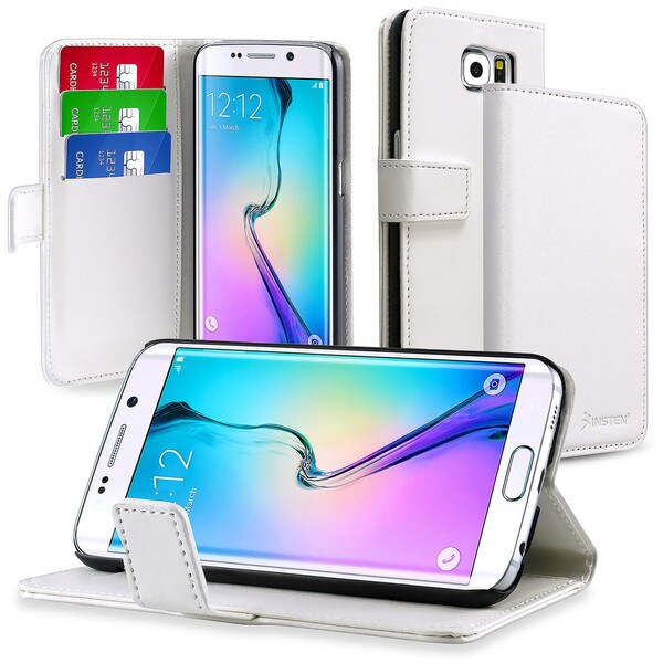 Insten White Leather Wallet Flap Pouch Case Cover with Stand For Samsung Galaxy S6