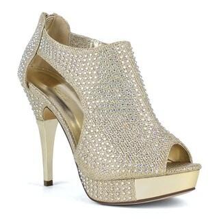 Celeste Women's Anastasia-01 High Heel Shining Diamond Ankle-Strap peep Toe Platform d'Orsay Pumps