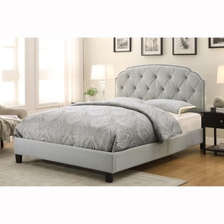 Slate Grey Queen Size Button Tufted Upholstered Bed
