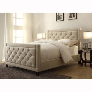 Natural Linen Queen Size Button Tufted Upholstered Bed