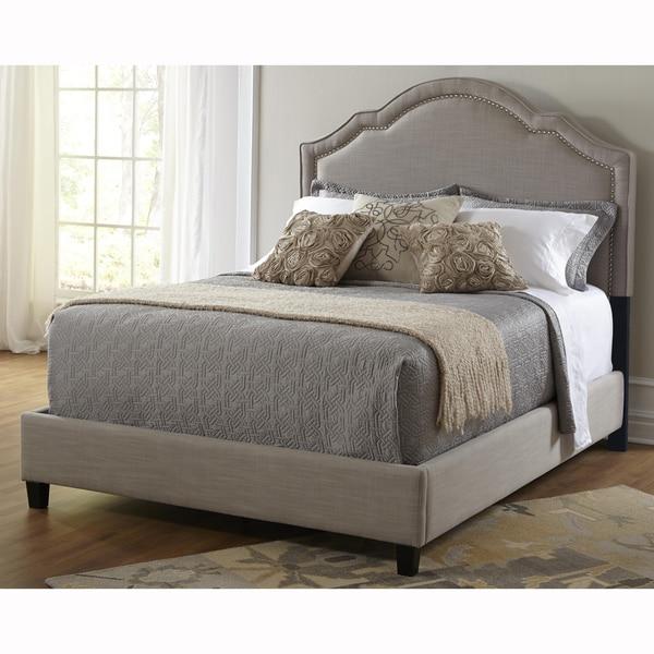 Elegant Taupe King Size Upholstered Bed - 17233391 - Overstock.com ...
