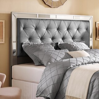 Silver Queen/Full Size Upholstered Tufted Mirrored Headboard
