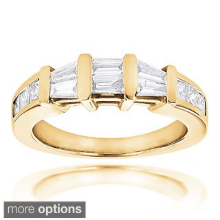 Luxurman Princess Cut and Baguette Diamond Wedding Band 0.9ct 14K