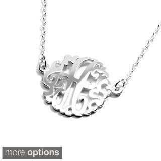 Sterling Silver Single Monogram Small 15mm Necklace