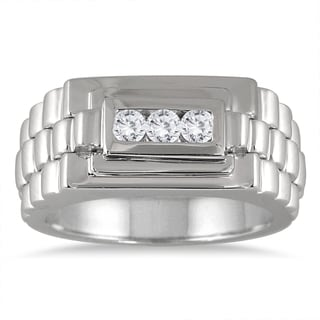 Marquee Jewels 10k White Gold Men's 1/4ct TDW Diamond 3-stone Ring (I-J, I1-I2)