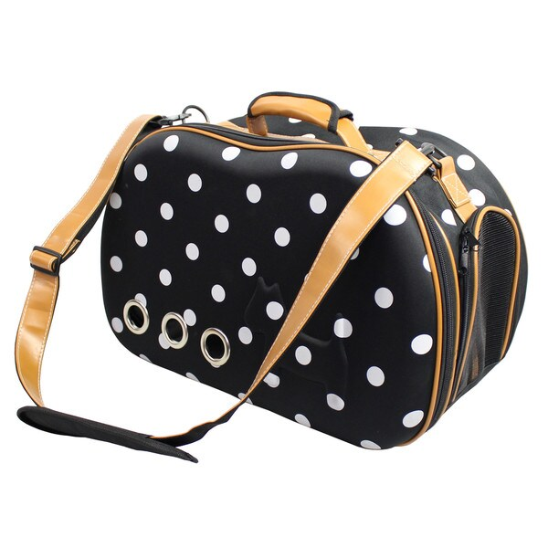 Fashion Dotted Venta-shell Perforated Collapsible Military Grade Designer Pet Carrier