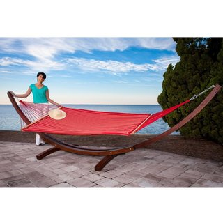 Prime Garden Sunbrella Fabric Hammock with 14-Foot Wood Arc Hammock Stand