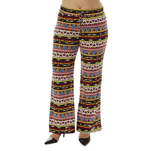 Women's Plus Size Tribal Sync Drawstring-waist Palazzo Pants