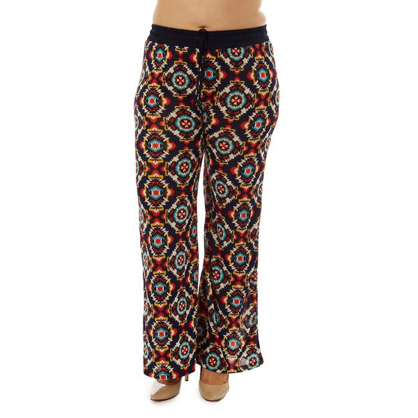 Women's Plus Size Red Symmetrical Print Drawstring-waist Palazzo Pants