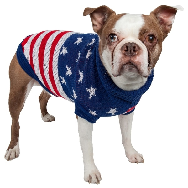 Patriot Independence Star Heavy Knitted Fashion Ribbed Turtle Neck Dog Sweater 15283883