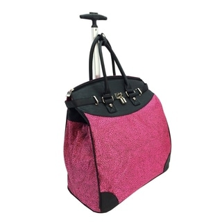 Fuchsia Mirco Leopard Foldable Rolling Carry-on Tote Bag
