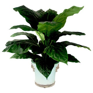 Silk Spathiphyllum Tree in Embellished Aqua Blue Ceramic Planter (New Jersey)